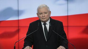 Jarosław Kaczyński podczas ogłoszenia składu nowego rządu, Warszawa 08.11.2019
