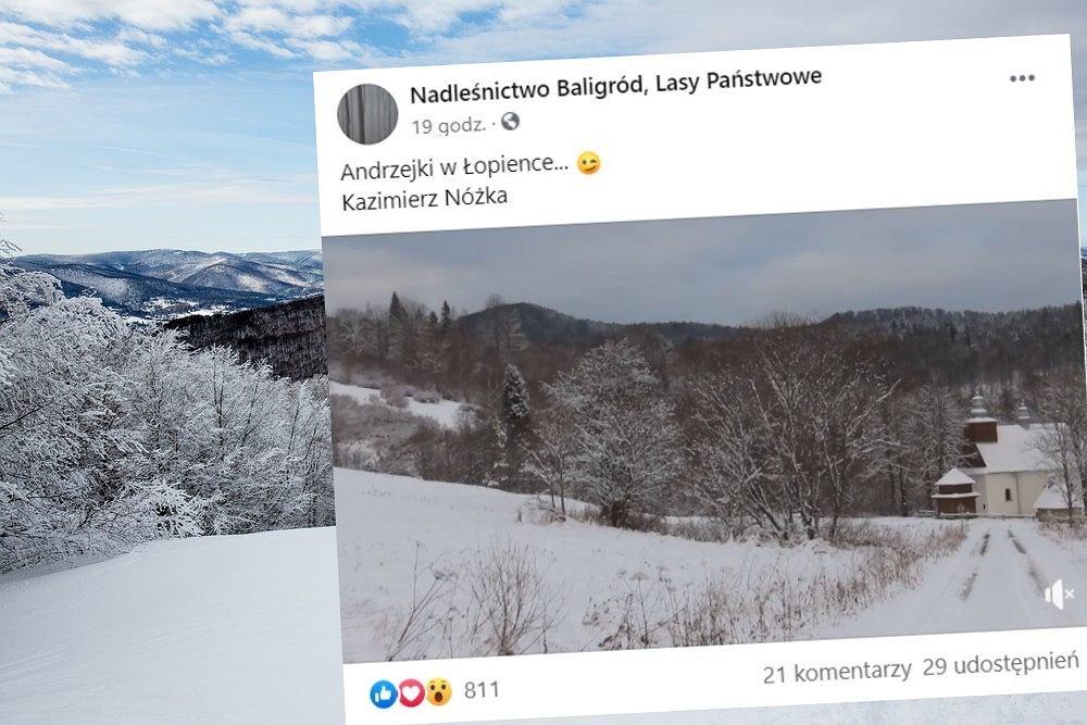 Śnieg w górach. Zimowy klimat i atmosfera Świąt