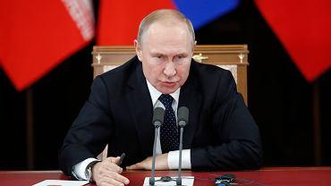 14.02.2019, Soczi, Władymir Putin podczas konferencji prasowej.