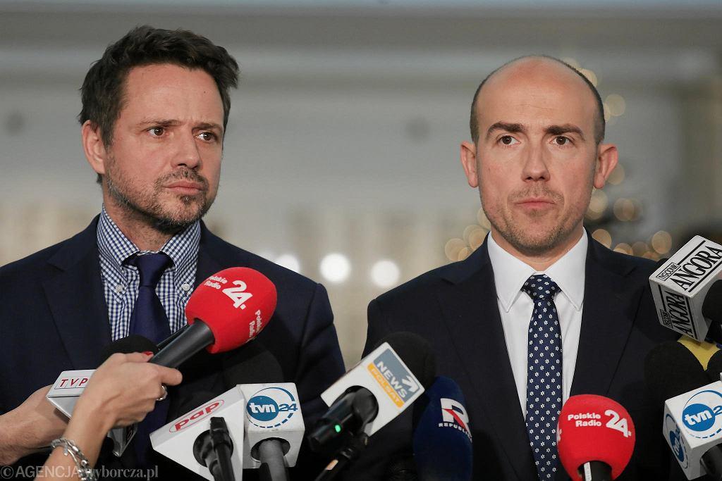 19 grudnia 2019 r., wspólna konferencja Rafała Trzaskowskiego i Borysa Budki