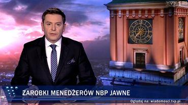 Materiał 'Wiadomości' TVP z 27 lutego o jawności płac w NBP