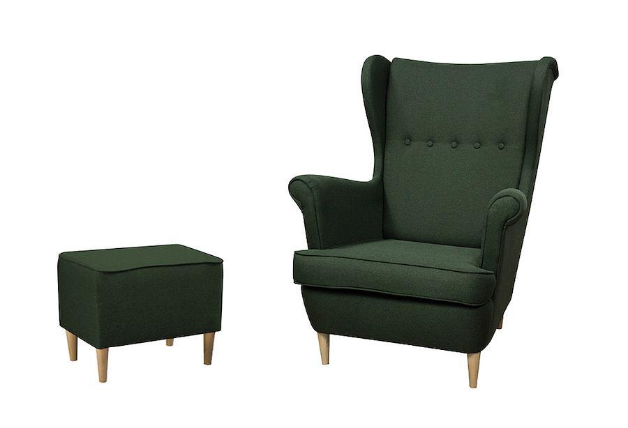 Ciemnozielony fotel uszak Kamea w zestawie z podnóżkiem od marki Wumex