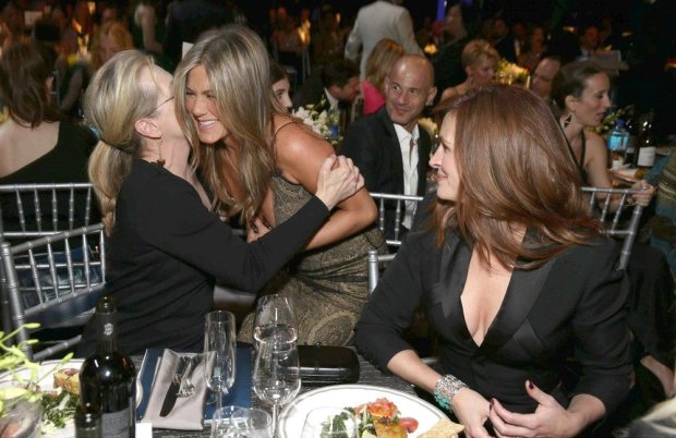 Mandatory Credit: Photo by Eric Charbonneau/REX (4381651a)  Meryl Streep, Jennifer Aniston, Julia Roberts  21st Screen Actors Guild Awards, Show, Los Angeles, America - 25 Jan 2015