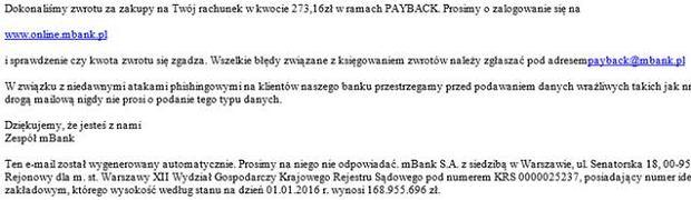 fragment fałszywego maila do klientów mBanku