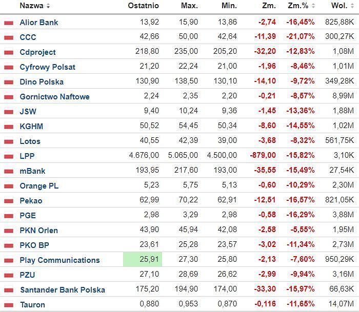 WIG20 - akcje/Fot. Investing.com