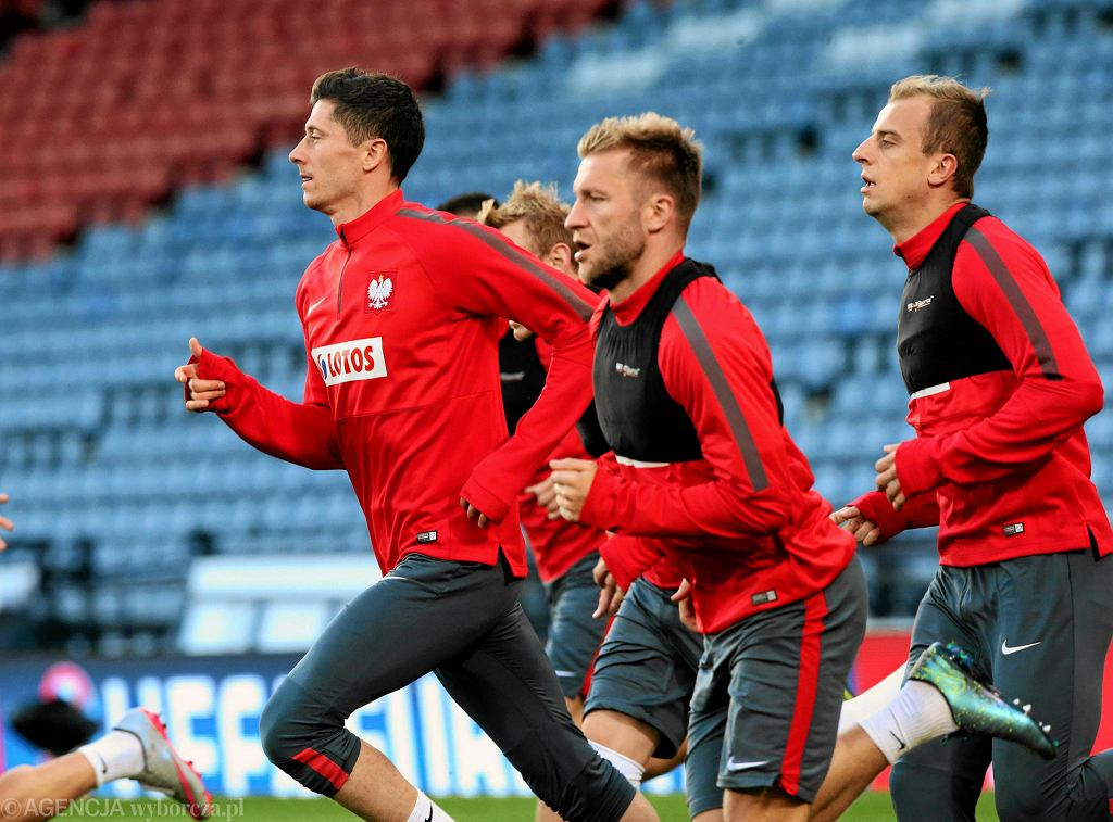 Robert Lewandowski, Jakub Błaszczykowski i Kamil Grosicki podczas treningu reprezentacji Polski