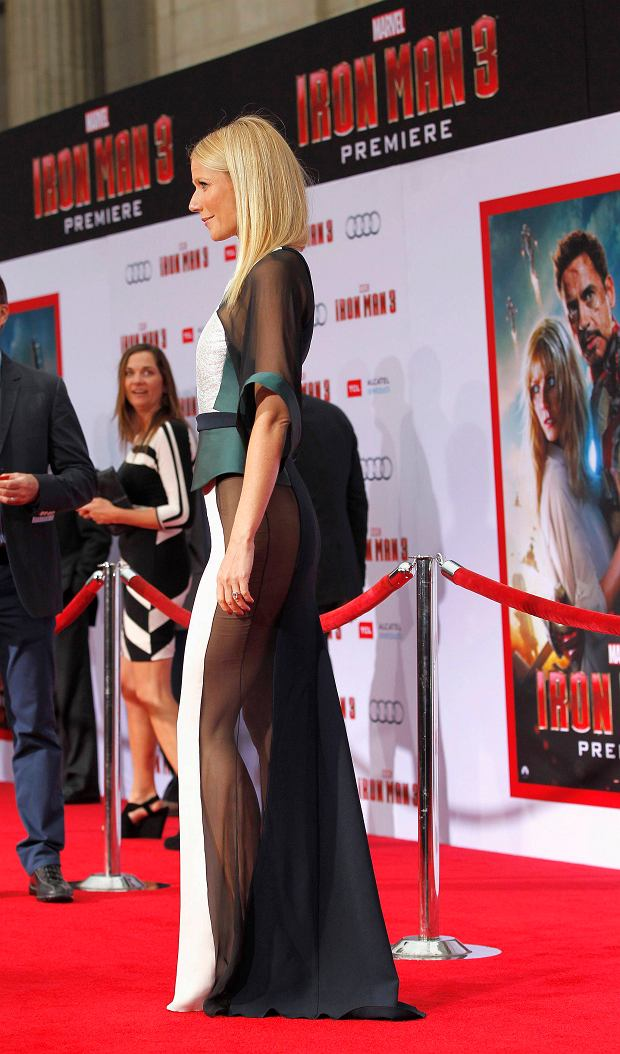 "Cast member Gwyneth Paltrow poses at the premiere of ""Iron Man 3"" at El Capitan theatre in Hollywood, California April 24, 2013. The movie opens in the U.S. on May 3. REUTERS/Mario Anzuoni  (UNITED STATES - Tags: ENTERTAINMENT)"