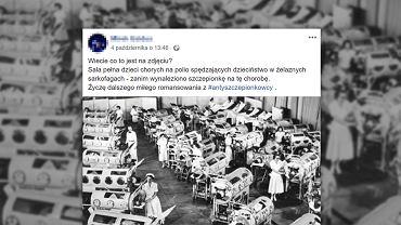 Sala pełna dzieci chorych na polio (choroba Heinego-Medina) spędzających dzieciństwo w 'żelaznych płucach'