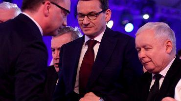 14.04.2018 Zbigniew Ziobro, Mateusz Morawiecki i Jarosław Kaczyński podczas konwencji PiS w Warszawie