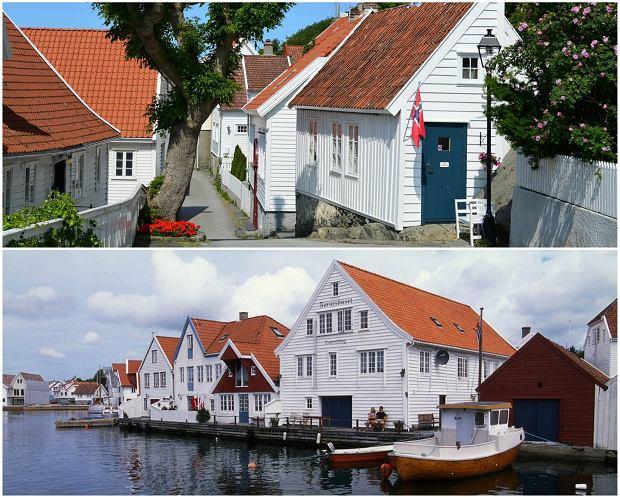 Miasto Skudeneshavn z 200 drewnianymi domami