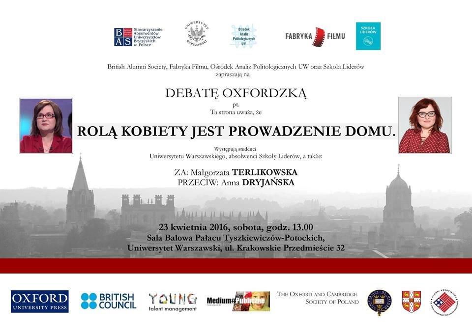 'Rolą kobiety jest prowadzenie domu' - debata oksfordzka z udziałem Małgorzaty Terlikowskiej i Anny Dryjańskiej.