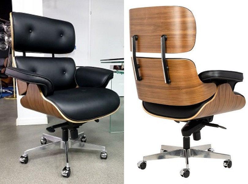Fotel inspirowany Lider czarna skóra orzech