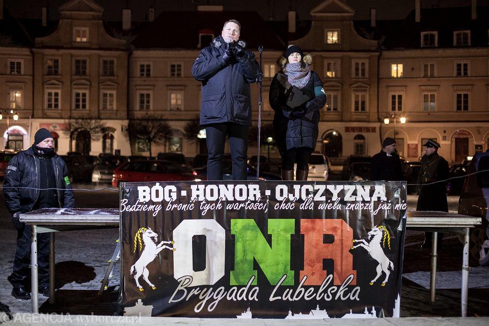 Przemysław Czarnek, jeszcze jako wojewoda lubelski, podczas Marszu Pamięci Żołnierzy Wyklętych  w Lublinie, 1 marca 2018 r.