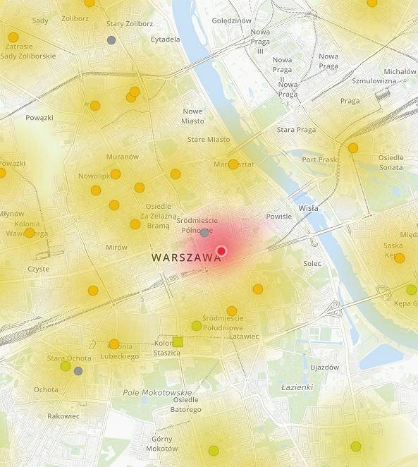 Mapa zanieczyszczenia powietrza w Warszawie