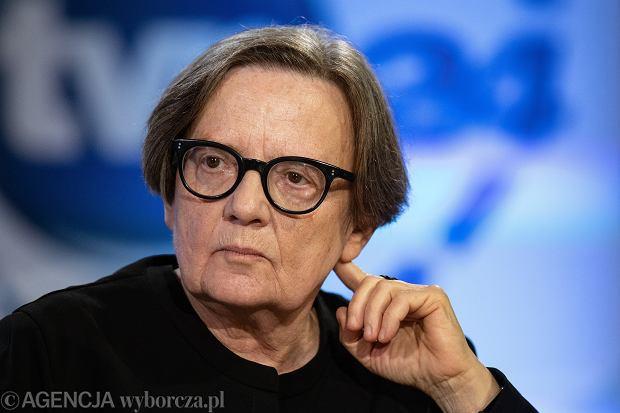 Agnieszka Holland w czasie debaty w czasie debaty 'Historia jutra' w Muzeum Historii Żydów Polskich POLIN w 2019 r. Reżyserka jest jedną z kilkuset filmowców, który podpisali list otwarty.