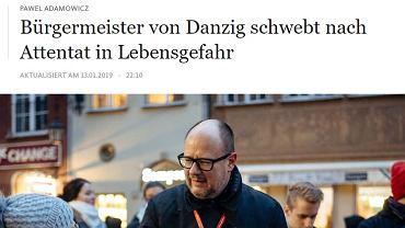 Frankfurter Allgemeine Zeitung o ataku w Gdańsku