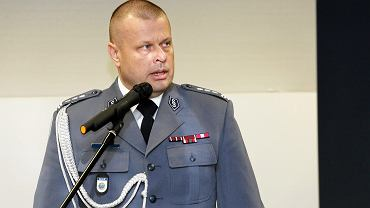 Ówczesny komendant główny policji Zbigniew Maj podczas uroczystości wymiany komendanta wojewódzkiego Policji w Krakowie, 2 lutego 2016