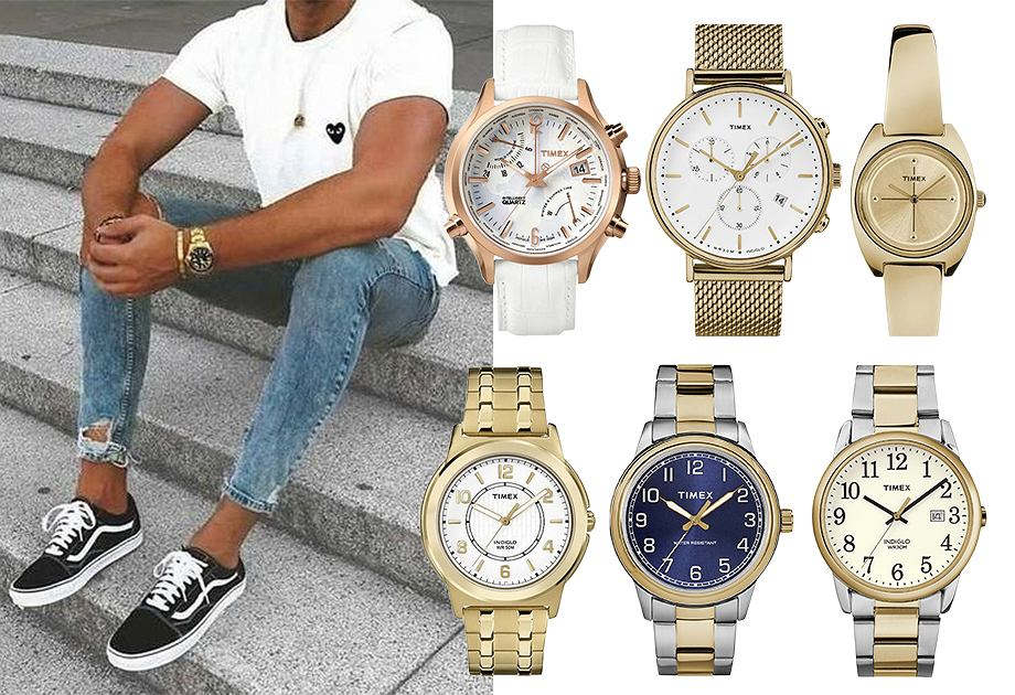 Kolaż złote zegarki Timex
