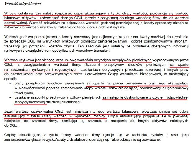 Fragment raportu Orange Polska