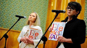 Autorka podręcznika Maria Lorek i Joanna Kluzik-Rostkowska podczas prezentacji książki