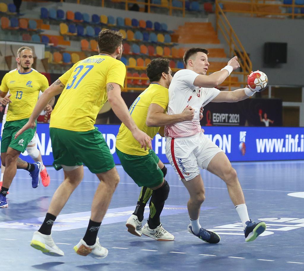 Michał Olejniczak w meczu z Brazylią