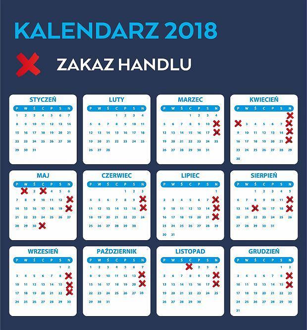 Niedziele handlowe 2018. Kalendarz do druku