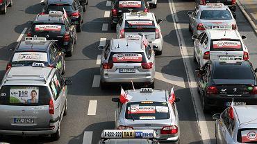 Protest taksówkarzy w Warszawie - 8 kwietnia 2019 rok