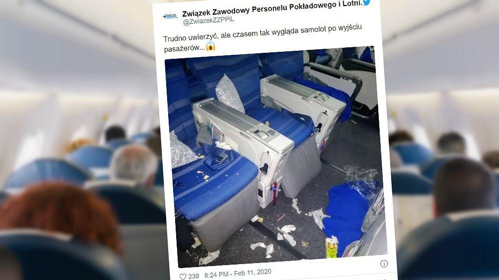 Na Twitterze zostało opublikowane zdjęcie bałaganu, który zostawili po sobie pasażerowie samolotu