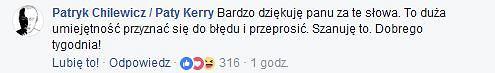 Komentarz Patryka Chilewicza pod postem Filipa Chajzera