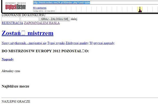 Kopia autentycznej domeny mistrzostwa.neo24.pl z roku 2012