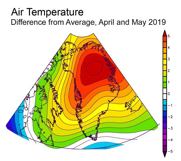 Średnia anomalia temperatury w rejonie Grenlandii w kwietniu i maju