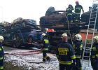 Wielkopolska: pożar lawety przewożącej siedem samochodów. Ocalały jedynie trzy