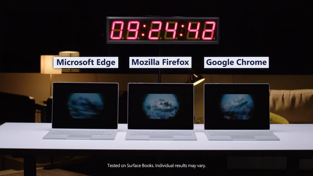 Edge konkuruje z Chrome i Firefox w filmie Microsoftu