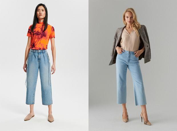 Jeansowe spodnie z szerokimi nogawkami