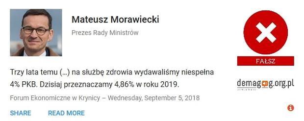 Mateusz Morawiecki - wypowiedź zweryfikowana przez Demagog.org.pl