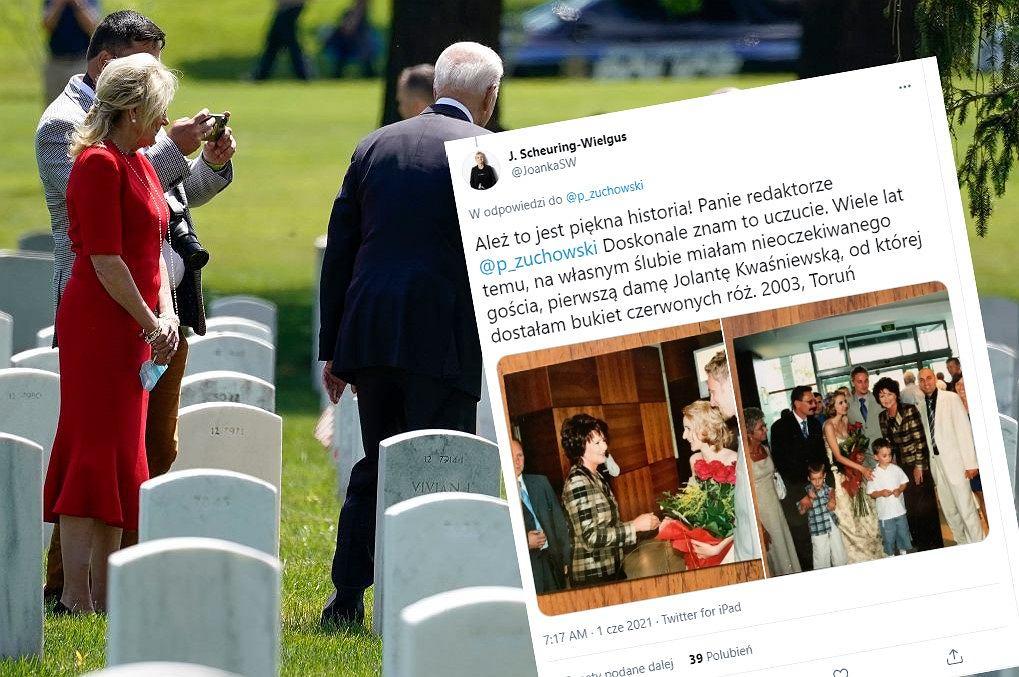 Prezydent Joe Biden odwiedził cmentarz wojskowy w Arlington, co skomentowała posłanka Lewicy... zdjęciem z własnego ślubu