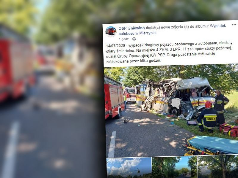 Wypadek autobusu w Mierzynie. Kierowca uderzył w drzewo, nie żyją trzy osoby