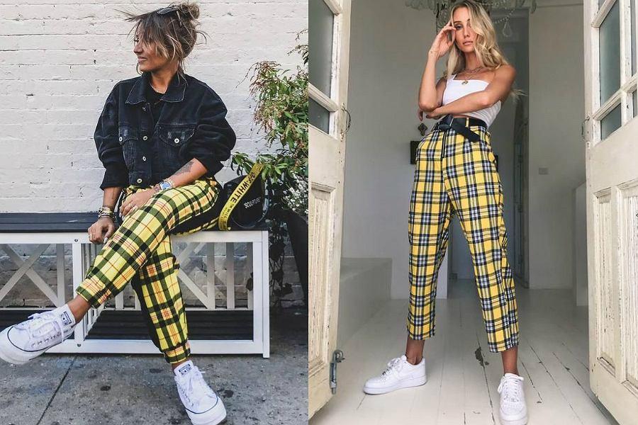 Znalezione obrazy dla zapytania spodnie w szkocka kratę stylizacja