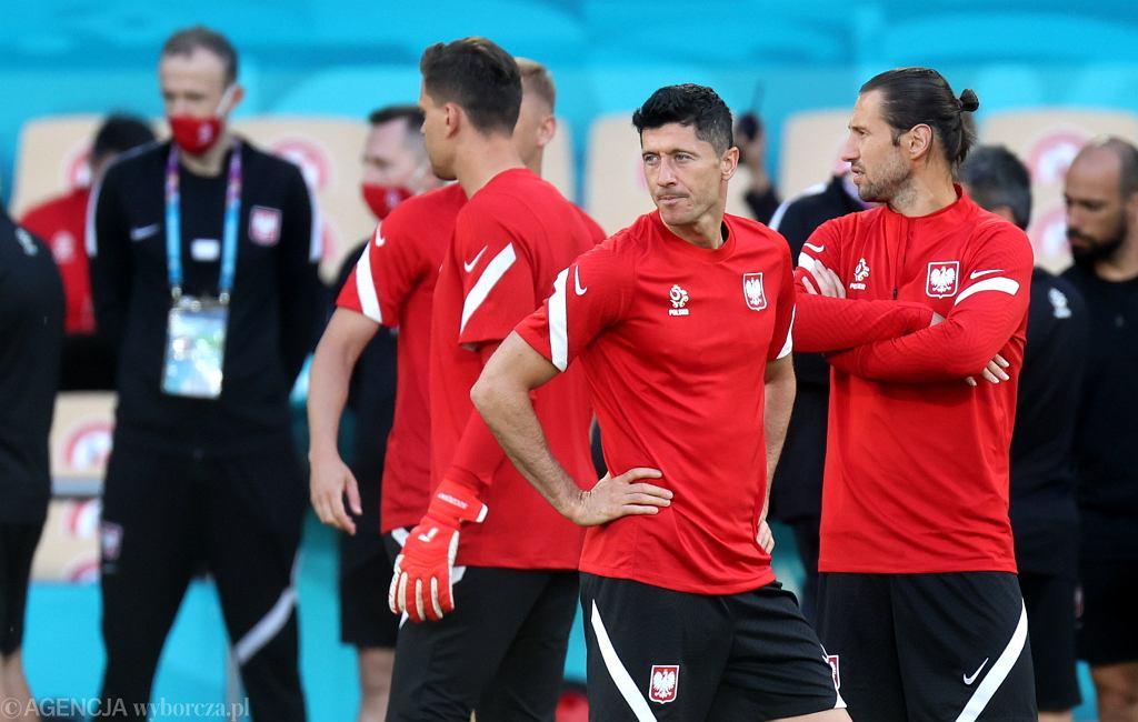 Robert Lewandowski podczas treningu reprezentacji przed meczem z Hiszpanią. Sewilla, 18 czerwca 2021