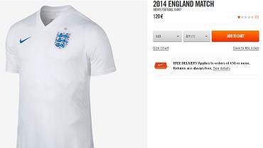 Meczowa koszulka reprezentacji Anglii w sklepie Nike kosztuje 120 euro