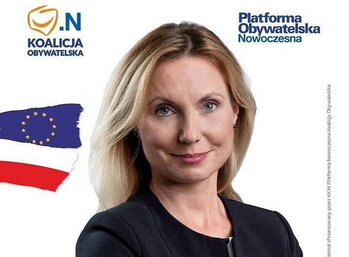 Sylwia Laskowska-Bobula na swojej ulotce wyborczej