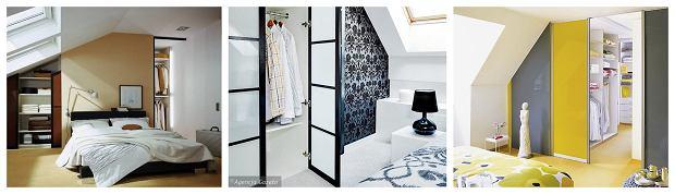 Garderoba w sypialni na poddaszu - aranżacje