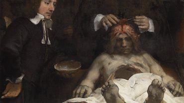 """""""Lekcję anatomii doktora Deymana"""" Rembrandt namalował w 1656 r., ćwierć wieku po słynnej """"Lekcji anatomii doktora Tulpa"""". Zachowała się tylko część obrazu, resztę strawił ogień w 1723 r."""