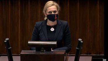 Barbara Nowacka podczas wtorkowych obrad w Sejmie
