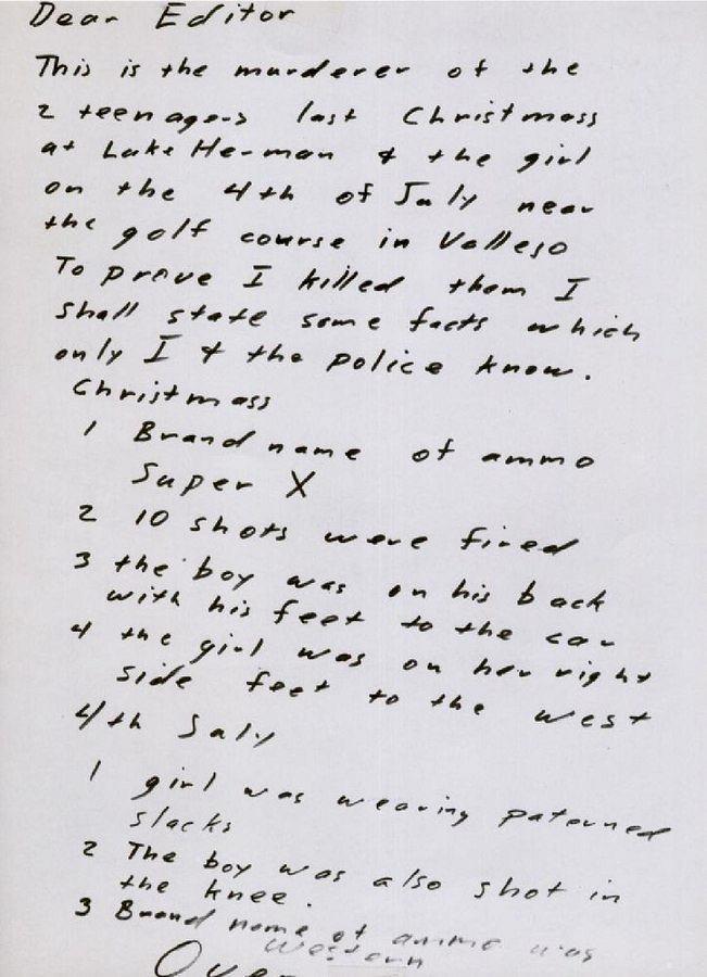 List Zodiaka wysłany do 'San Francisco Chronicle' 31 lipca 1969 r.