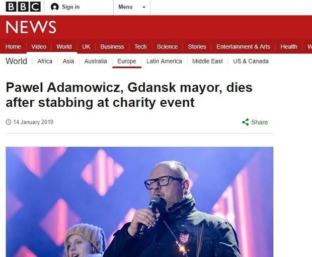 BBC o kulisach śmierci Adamowicza