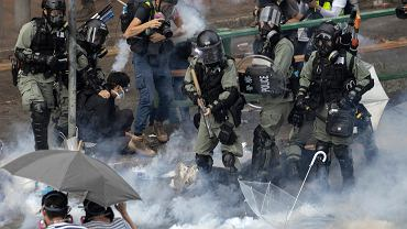 Protest na kampusie politechniki w Hongkongu.