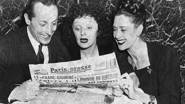 Frederic Apcar and Florence Waren with the singer Edith Piaf