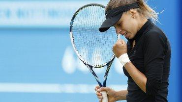 Magda Linette podczas turnieju Aegon Open w Nottingham
