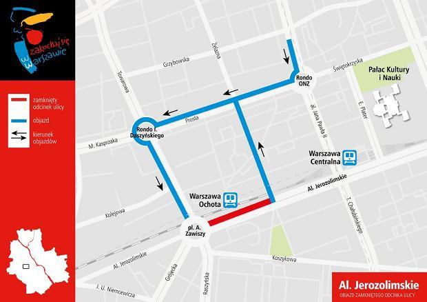 Proponowany objazd zamkniętego odcinka Al. Jerozolimskich
